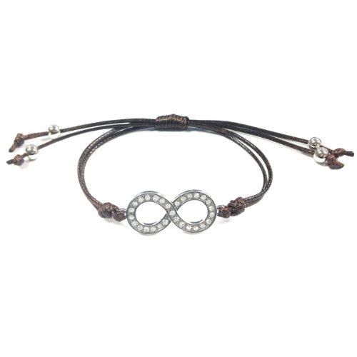 Adjustable Rhinestone Infinity Corded Bracelet, Brown and Silver Tone - 1