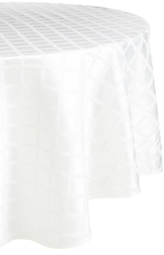 Lenox Laurel Leaf 70-by-104-Inch Oval Tablecloth, White