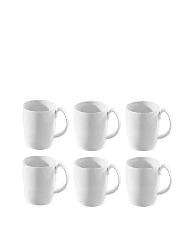 10 Strawberry Street Set Of 6 Aurora Square Barrel Mugs, White