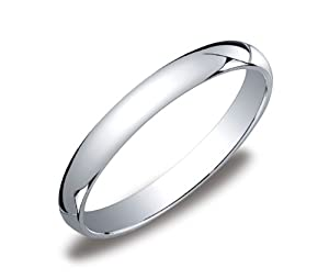 Women's 10k White Gold 3mm Traditional Plain Wedding Band, Size 6