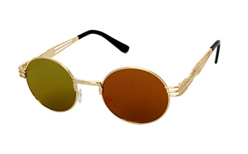 GAMT Retro Metal Hipster Steampunk Round Style Coating Mirrored Sunglasses Gold-red (Red Circle Lenses compare prices)