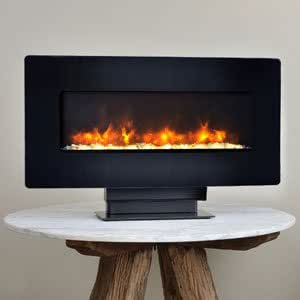 Classicflame 36 Inch Curved Black Wall Mount Electric Fireplace 36hf201cgt Home