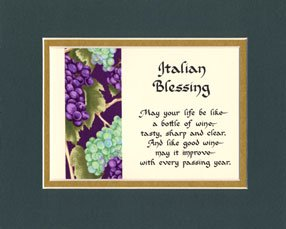Amazon Com Italian Blessing Matted Wall Sign Keepsake Poem Gift Home Amp Kitchen