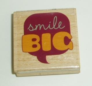 Smile Big Rubber Stamp with Wood Base by Studio G