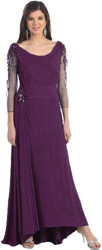 Mother of the Bride Formal Evening Dress #970 (Large, Eggplant)