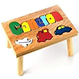 Personalized Transportation Puzzle Stool - Color: Natural