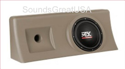 "Amplified & Loaded Mtx Thunderform For 2000-2006 Chevy 1500 & Gmc Sierra Crew Cab Custom Chevrolet Sub Box Holds 10"" Subwoofer Tan"