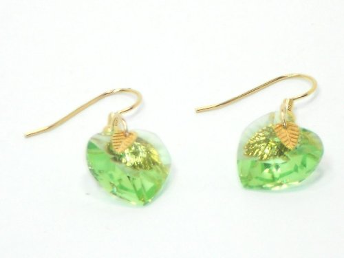 Gold-filled Earrings with Peridot Swarovski Crystals