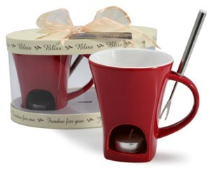 Danesco BLISS Chocolate Fondue Mugs, Set of 2 (Red)