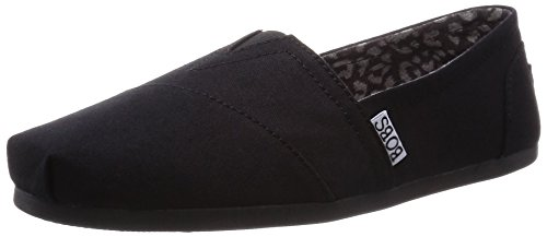BOBS from Skechers Women's Plush Peace and Love Flat,Black,10 M US