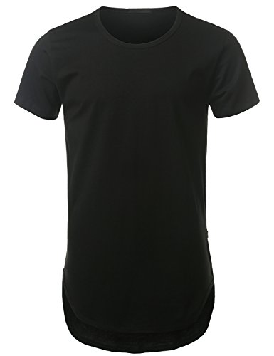 Urbancrews Mens Hipster Hip Hop Lightweight Longline T-Shirt Black Large