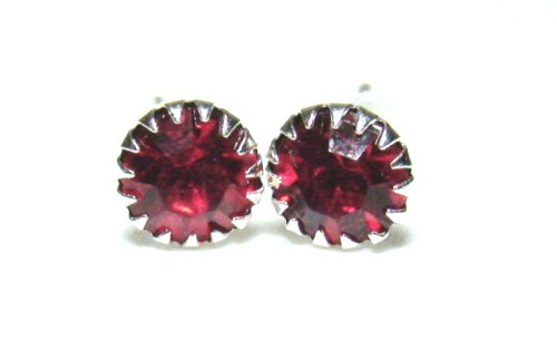 Silver Tone Red Rhinestone Birthstone Stud Earrings Fashion Jewelry Collection