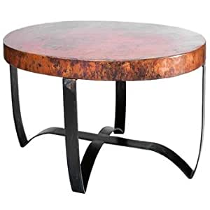 Amazon Round Strap Coffee Table with Hammered Copper