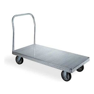 Wesco 350094 Treadplate Model Aluminum Platform Truck, Moldon Rubber Wheels, 2400 lbs Load Capacity, 43-1/2