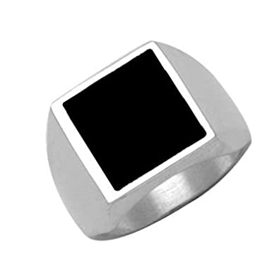 So Chic Jewels - 925 Sterling Silver Black Onyx Square Support Signet Ring