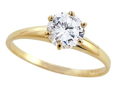 CZ Solitaire Engagement Ring 14k Yellow Gold Round Cubic Zirconia 1 CT  onSale