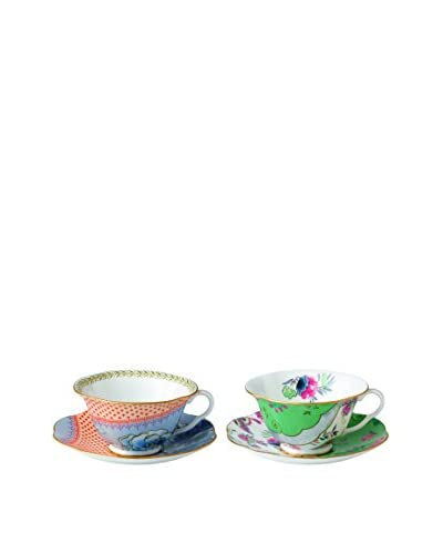Wedgwood Butterfly Bloom 2 Teacups & Saucers, Multi