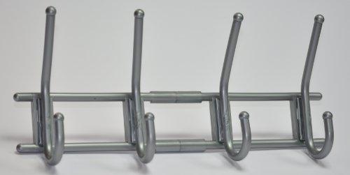 Garderobe-Hakenleiste-Garderobenleiste-Kleiderhaken-Kunststoff-silber-mit-4-Haken-verdeckte-Verschraubung-370-x-165-x-70mm