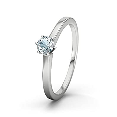 21DIAMONDS Women's Ring Santa Cruz Aquamarine Brilliant Cut Engagement Ring - Silver Engagement Ring