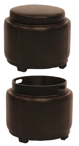 New Pacific Direct Cameron Round Leather Ottoman, Brown