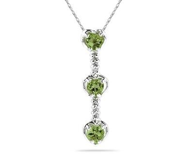 Three Peridot Hearts and Diamonds Drop Pendant in White Gold