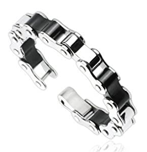 Mens Premium Quality High Polished Silver And Black Bike Chain Bracelet - 316l Stainless Steel - Total Length 86 Suitable For A Wrist Measuring Appx 67 To 75 Width 055 - Presented In Gift Box by Katy Craig