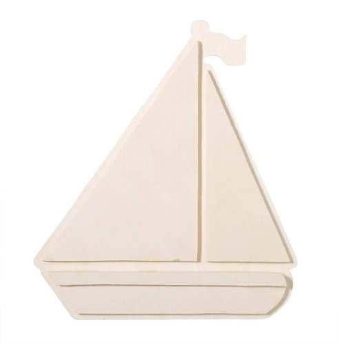 Darice 9189-06 Chunky Layered Wood Cutout, Sailboat, 10mm