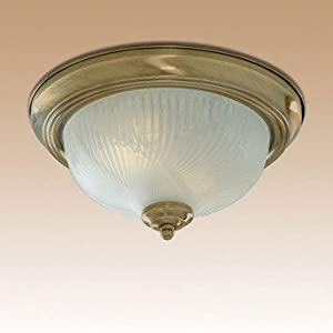 Searchlight Lighting 7622-11AB Antique Brass finish Flush Ceiling Light with Ribbed Glass Diffuser, 2 x 60 watts from Home Essence