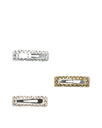 Cranky Princess Kids 3-Pack Crystal Clips, Taupe/Champagne/Silver
