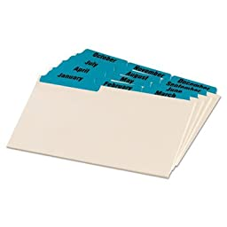 Laminated Tab Index Card Guides, Monthly, 1/3 Tab, Manila, 4 x 6, 12/Set, Sold as 2 Set