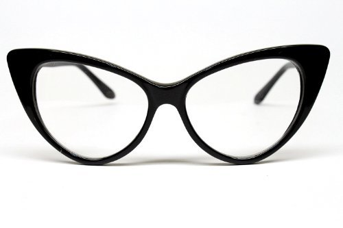 Super Cat Eye Glasses Vintage Inspired Mod Fashion Clear Lens Eyewear (Black) 0