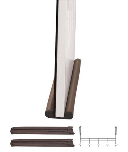 Hampton Direct Twin Draft Guard Window/Door Insulating Device with Over-the-Door Hook, Brown, 2-Pack