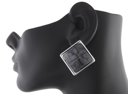 Ladies Silver Square Disc with Grey Marble Style Clip on Earrings