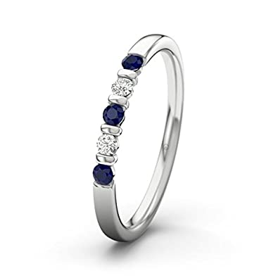 21DIAMONDS Women's Ring Millie 14 carat (585) White Gold Engagement Ring Brilliant Cut Blue Sapphire Color Engagement Ring