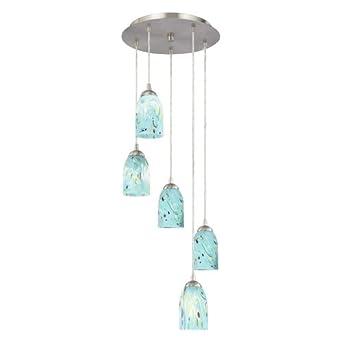modern multi light pendant light with turquoise blue