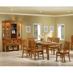 9 Piece Dining Room Furniture Set In Medium Brown