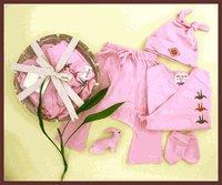 Organic Baby Gift Basket Pink - Japanese Orizuru Print 0-6m