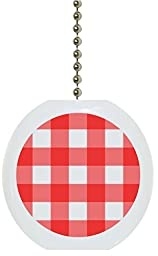 Red Gingham Solid Ceramic Fan Pull