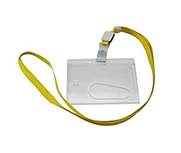Ailisi Horizontal Card Holder Neck Strap Lanyard Yellow Strap Belt Pack of 10
