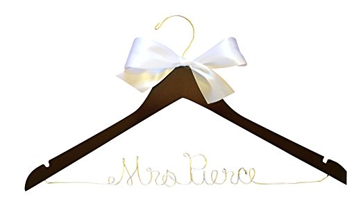 Personalized Hanger for Wedding Dress on Mahogany Wood Premium Hanger with Silver Wire