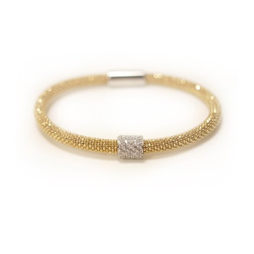 Sterling silver hallmarked mesh bracelet with white cz sparkle in a yellow gold vermeil
