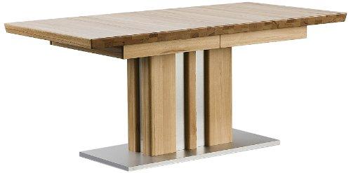 Ausziehbarer-Sulentisch-Bolzano-Tischplatte-und-Gestell-Kernbuche-massiv-matt-lackiert-Absetzung-Gestell-und-Bodenplatte-Edelstahloptik-Mae-in-BHT-ca-160260x77x90-cm