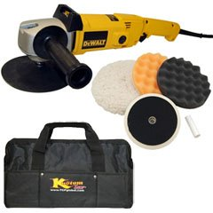 "DeWalt DW849 Heavy Duty Variable Speed Polisher along with a Professional 3 Pad Buffing and Polishing Kit 3 â?"" 8"" Grip Pads (2 Waffle Foam & 1 Wool) along with a 5/8"" Threaded Grip Backing Plate"