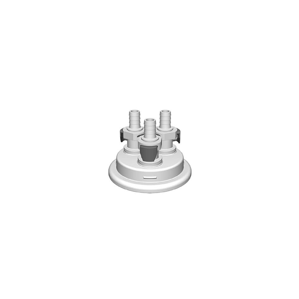 VersaCap 205 3005 RLS Polypropylene Adapter, 3/8 Hose Barb x 3 and Vent, 3 Quick Connector, 80mm Cap Size