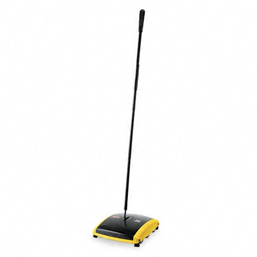 """Rubbermaid Commercial Products - Rubbermaid Commercial - Dual Action Sweeper, Boar/Nylon Bristles, 42"""" Steel/Plastic Handle, Black/Yellow - Sold As 1 Each - Natural boar brush for fine cleaning, crimped nylon brush for heavy debris. - For bare floors or low-pile carpets. - Easy-to-empty dual canisters. - Cushioned bumpers. - Long, flat-fold handle gets under furniture."""