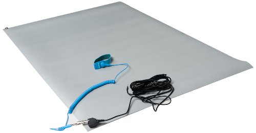 "ESDProduct Vinyl General Purpose Mat Kit with Wrist Strap and 15' Ground Cord, 3/32"" Thick, 3' Length, 2' Width, Gray at Sears.com"
