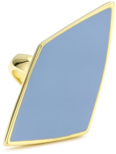 Belle Noel Enameled Asymmetrical Diamond Shaped Sky Blue Enamel Ring, Size 8