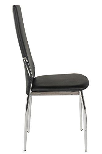 Merax set of 6 dining chairs black faux leather chairs for Leather dining chairs with metal legs