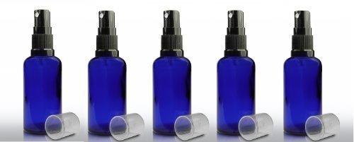 paquet-de-5-x-50ml-bouteille-en-verre-bleu-york-avec-le-capuchon-spray-noir-pulverisateur-pour-larom