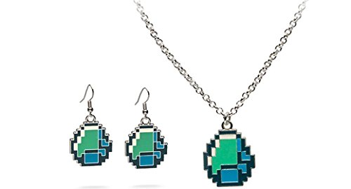 Official Licensed Jinx Minecraft Diamond Pendant necklace and Diamond Earring Set